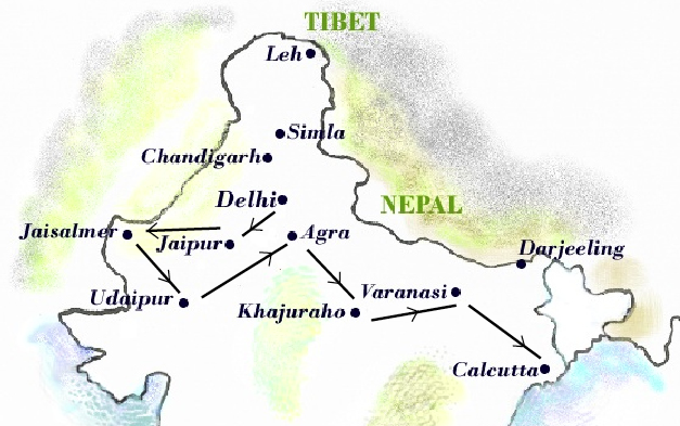 Map India Itinerary
